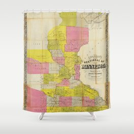 Chapman's New Sectional Map of Minnesota (1856) Shower Curtain