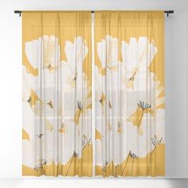 Flowers In Tangerine Sheer Curtain