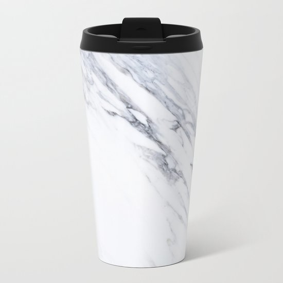 White Marble with Classic Black Veins Metal Travel Mug