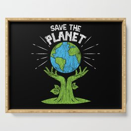 Retro Vintage Save Our Planet Plant Tree Earth Day Serving Tray
