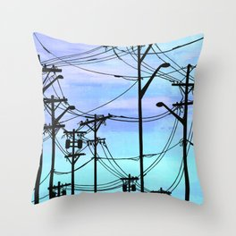 Industrial poles blue Throw Pillow