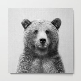 Grizzly Bear - Black & White Metal Print