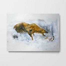 Bear Fishing Metal Print