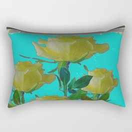 SHABBY CHIC TURQUOISE ANTIQUE IVORY YELLOW ROSE GARDEN Rectangular Pillow