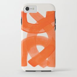 Mid Century Modern Abstract Painting Orange Watercolor Brush Strokes iPhone Case