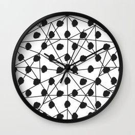 Geometrical black white watercolor polka dots Wall Clock