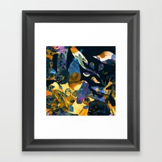 blue abstract floral Framed Art Print