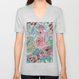 Pretty watercolor hand paint floral artwork. Unisex V-Neck