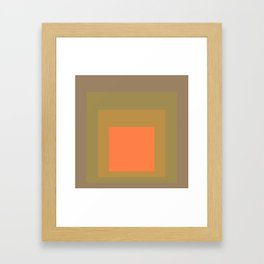 Block Colors - Muted Earthy Tones and Bright Orange Framed Art Print
