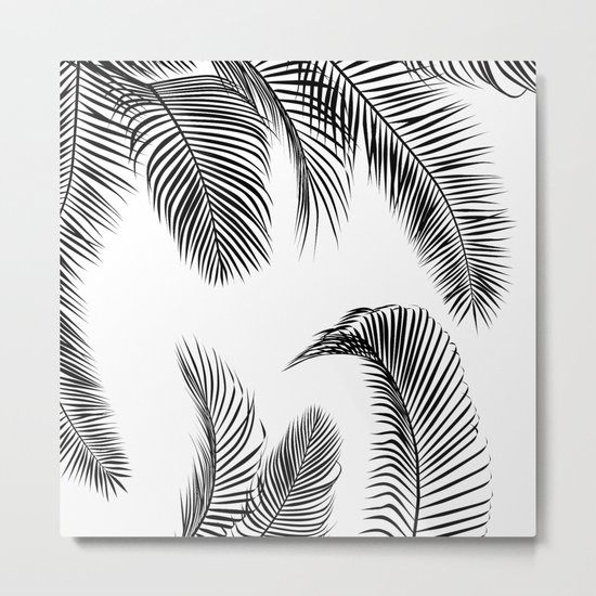 Black palm tree leaves pattern Metal Print