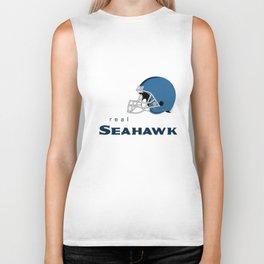 True Seahawk American Football Design black lettering Biker Tank