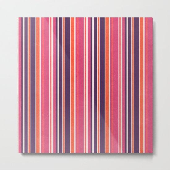 Happy Vertical LInes Pink Version Metal Print