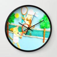 tennis Wall Clocks featuring Tennis by Tessa Killingbeck