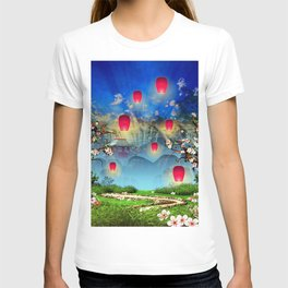 Pink lanterns with cherry blossom and mountain temple T-shirt
