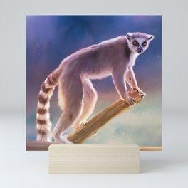 Cute painted Ring-tailed lemur Mini Art Print