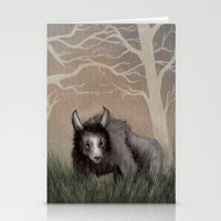 beastie boys Stationery Cards featuring Forest Beastie by Mr Patch