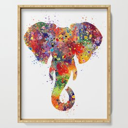 Elephant Head Art Colorful Watercolor Art Gift Animals Art Nature Art Wildlife Gift Serving Tray