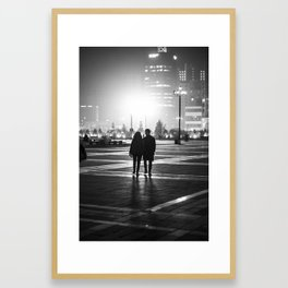 Couple Walking at Night Framed Art Print
