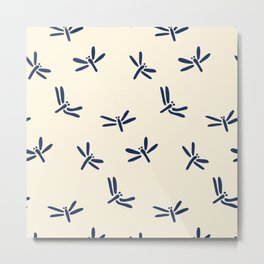 Blue Japanese Dragonfly Pattern Metal Print