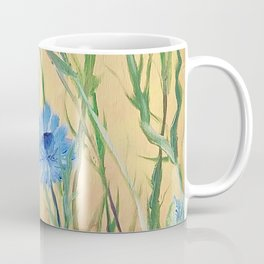 Bachelor Buttons, Flower Painting, by Faye Coffee Mug