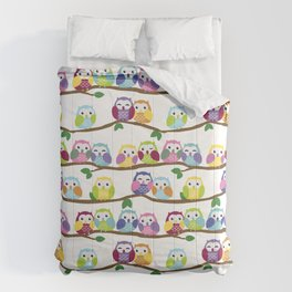 Colorful Owls On Branches Comforters