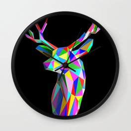 3D Stag Black Background Wall Clock