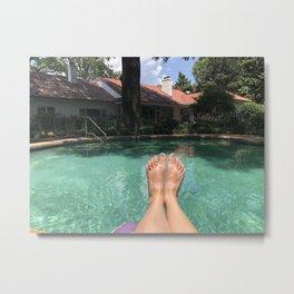 Feet at the Pool Metal Print
