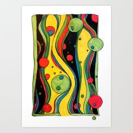 River Flows with Olives and Raspberries, pattern drawings Art Print