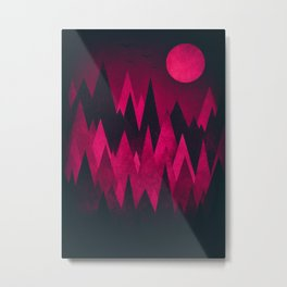 Dark Triangles (Peak Woods) Abstract Grunge Mountains Design (red/black) Metal Print