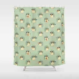 Adorable Green Penguin Pattern Shower Curtain