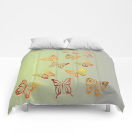 orange - yellow butterfly Comforters