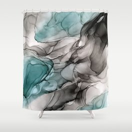Smoky Grays and Green Abstract Flow Shower Curtain