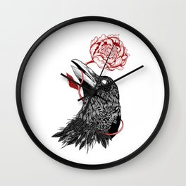 Raven Flower Wall Clock
