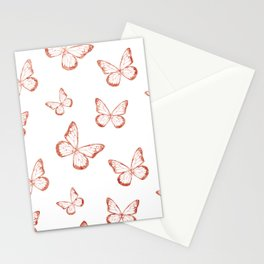 Rose Gold Butterflies Stationery Cards