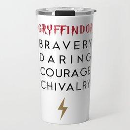 Wizard School House Qualities - Brave, Daring, Courage, Chivalry Travel Mug