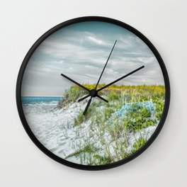 Chatham Lighthouse Beach in Teal Wall Clock