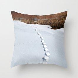Watercolor Footprints, Wildlife 01, Moraine Park, RMNP, Colorado Throw Pillow