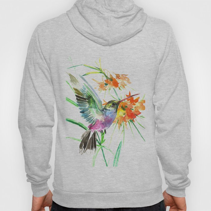 Hummignbird and Flowers Hoody