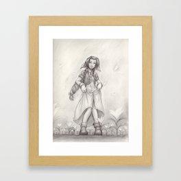Aerith Greyscale Framed Art Print
