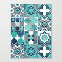Spanish moroccan tiles inspiration // turquoise green silver lines Canvas Print
