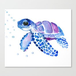 Blue Purple Sea Turtle, Turtle for nursery Canvas Print