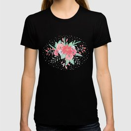 Pretty watercolor Christmas floral and dots design T-shirt