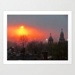Foggy Portland Sunset (5) Art Print