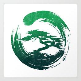 Green Bonsai in Enso Art Print
