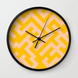 Deep Peach Orange and Amber Orange Diagonal Labyrinth Wall Clock
