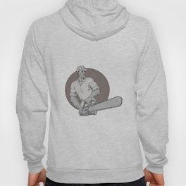 Lumberjack Arborist Holding Chainsaw Oval Drawing Hoody