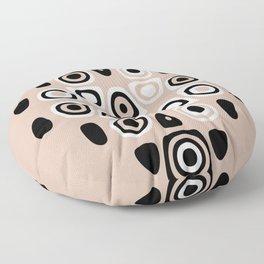 Neutral Tones Black & White Abstract Print Floor Pillow