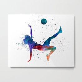 Woman soccer player 08 in watercolor Metal Print