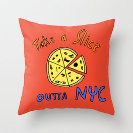 Take a slice (of pizza) out of New York City Throw Pillow