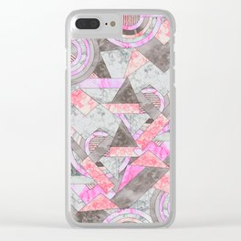 Abstract marble geo 001 Clear iPhone Case